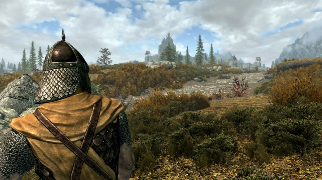 A Whiterun guard looks towards Dragonsreach