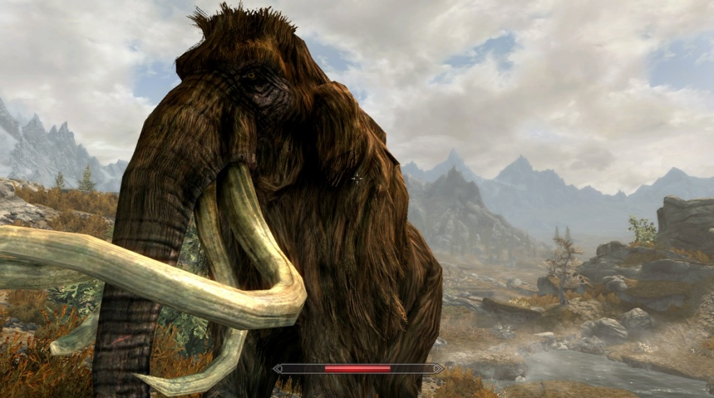 A Skyrim mammoth roaming the plains